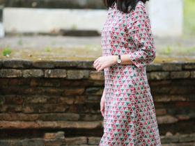 新中式印花长款旗袍,中国式性感!